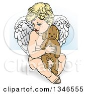 Clipart Of A Cartoon Blond White Cherub Holding A Stuffed Animal Royalty Free Vector Illustration by dero
