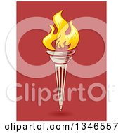 Clipart Of A Flaming Torch Over Red Royalty Free Vector Illustration