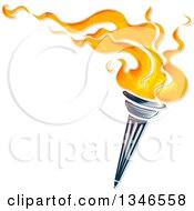 Clipart Of A Flaming Torch With Text Space Royalty Free Vector Illustration