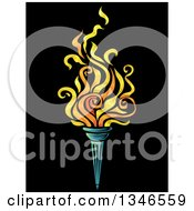 Clipart Of A Flaming Torch Over Black Royalty Free Vector Illustration by BNP Design Studio