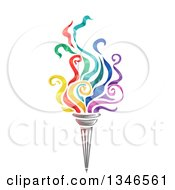 Clipart Of A Torch With Colorful Flames Royalty Free Vector Illustration by BNP Design Studio