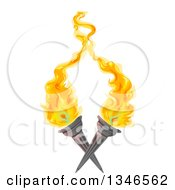 Clipart Of Crossed Flaming Torches Royalty Free Vector Illustration