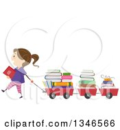 Clipart Of A Happy Brunette Caucasian Girl Pulling Books In Wagons Royalty Free Vector Illustration