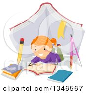 Clipart Of A Happy Red Haired Caucasian Girl Laying On The Floor And Reading Under A Giant Book Tent Royalty Free Vector Illustration