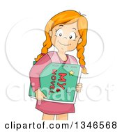Clipart Of A Happy Red Haired Caucasian Girl Carrying A Handmade Novel Royalty Free Vector Illustration