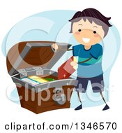Clipart Of A Happy Boy Putting Books In A Treasure Chest Royalty Free Vector Illustration by BNP Design Studio