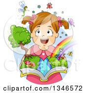 Clipart Of A Happy Brunette Caucasian Girl Imagining Fairies And Rainbows And Holding An Open Book Royalty Free Vector Illustration by BNP Design Studio