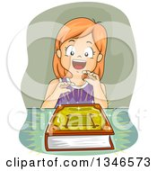 Clipart Of A Happy Red Haired Caucasian Girl With A Glowing Magic Book Royalty Free Vector Illustration by BNP Design Studio