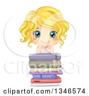 Happy Blond Cacuasian Girl Grinning And Leaning On A Stack Of Books
