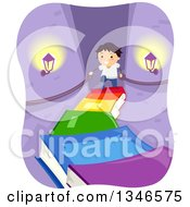 Clipart Of A Happy Boy Climbing A Staircase Of Books In A Castle Royalty Free Vector Illustration by BNP Design Studio