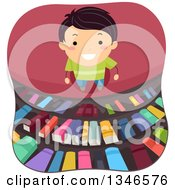 Clipart Of A Happy Boy Smiling And Looking Up At Library Shelves Royalty Free Vector Illustration