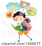 Poster, Art Print Of Happy School Boy Walking And Reading While Thinking