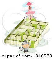Clipart Of A Cartoon Caucasian Knight Boy Near A Book Maze Leading To A Castle Tower Royalty Free Vector Illustration by BNP Design Studio