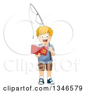 Clipart Of A Happy Red Haired Caucasian Boy Holding A Fishing Pole And Reading A Book Royalty Free Vector Illustration by BNP Design Studio