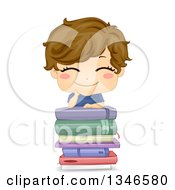 Happy Brunette Cacuasian Boy Grinning And Leaning On A Stack Of Books