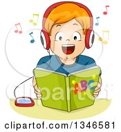 Clipart Of A Happy Red Haired Caucasian Boy Listening To An Audio Book Royalty Free Vector Illustration
