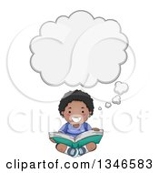 Clipart Of A Happy Black Boy Sitting On The Floor Thinking And Readint A Book Royalty Free Vector Illustration