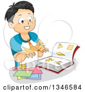 Clipart Of A Happy Boy Leaning How To Make Origami From A Book Royalty Free Vector Illustration