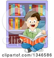 Clipart Of A Happy Brunette Caucasian Boy Sitting On The Floor And Readint A Book In A Library Royalty Free Vector Illustration