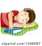 Clipart Of A Brunette Caucasian Boy Sleeping On A Lawn And Using A Book As A Pillow Royalty Free Vector Illustration
