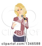 Clipart Of A Happy Blond Caucasian Woman Reciting A Poem At A Microphone Royalty Free Vector Illustration