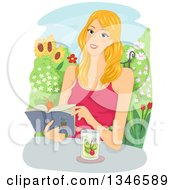 Clipart Of A Happy Blond Caucasian Woman Reading A Book With Juice In A Garden Royalty Free Vector Illustration