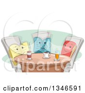 Clipart Of A Group Of Book Characters Having Coffee Together Royalty Free Vector Illustration