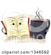 Cartoon Book And Coffee Cup Embracing