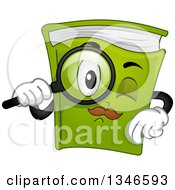 Clipart Of A Cartoon Green Book Mascot Using A Magnifying Glass Royalty Free Vector Illustration by BNP Design Studio
