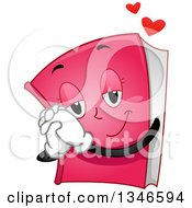 Clipart Of A Cartoon Pink Romance Novel Book Character Gushing Royalty Free Vector Illustration