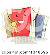 Clipart Of A Cartoon Happy Book Wearing A Best Seller Ribbon Royalty Free Vector Illustration