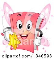 Clipart Of A Cartoon Pink Fantasy Story Book Fairy Holding A Wand Royalty Free Vector Illustration by BNP Design Studio