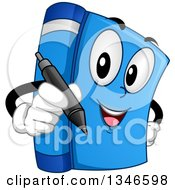 Clipart Of A Cartoon Blue Book Mascot Holding A Signing Pen Royalty Free Vector Illustration