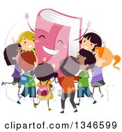 Clipart Of A Cheering Pink Book Mascot Surrounded By Happy Children Royalty Free Vector Illustration
