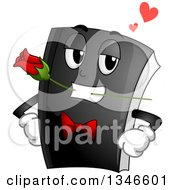 Clipart Of A Black Book Mascot Wearing A Tux Tie And Biting A Rose Royalty Free Vector Illustration