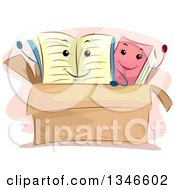 Clipart Of Happy Book Characters Waving In A Box Royalty Free Vector Illustration by BNP Design Studio