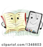 Clipart Of A Happy Book Mascot And Ebook Reader Royalty Free Vector Illustration