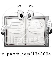 Clipart Of A Cartoon Tablet Ebook Mascot Turning Pages Royalty Free Vector Illustration by BNP Design Studio