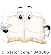 Clipart Of A Cartoon Book Mascot Pointing At Its Own Blank Pages Royalty Free Vector Illustration