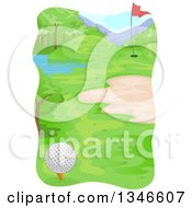 Clipart Of A Golf Course With Bumpy Terrain And A Pond Royalty Free Vector Illustration by BNP Design Studio