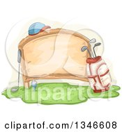 Clipart Of A Sketched Wood Sign With Golf Accessories Royalty Free Vector Illustration
