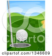 Clipart Of A Golf Course With A Ball Near A Hole Royalty Free Vector Illustration by BNP Design Studio