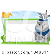 Clipart Of A Golf Ball Flag And Bag Around A Blank Sign Royalty Free Vector Illustration