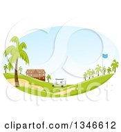 Clipart Of A Golf Cart Near A Building With Palm Trees In The Landscape Royalty Free Vector Illustration