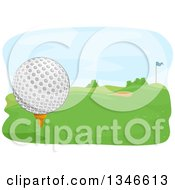 Clipart Of A Golf Ball On A Tee With A View Of The Course Royalty Free Vector Illustration by BNP Design Studio