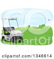Clipart Of A Golf Cart On A Course Royalty Free Vector Illustration by BNP Design Studio
