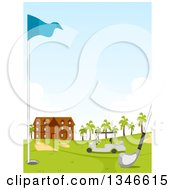Club Hole Flag And Cart On A Golf Course With The Building In The Background