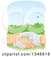 Clipart Of Golfers Shaking Hands Over A Course Royalty Free Vector Illustration by BNP Design Studio