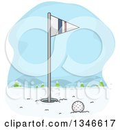 Clipart Of A Golf Ball Near The Hole And Flag In Winter Snow Royalty Free Vector Illustration by BNP Design Studio