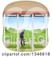 Clipart Of A Rear View Of A Male Golfer Swinging In A Driving Range Royalty Free Vector Illustration